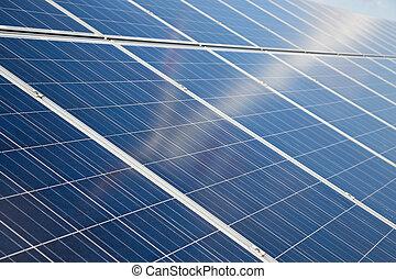 reflexão, solar, turbina, painéis, vago, vento