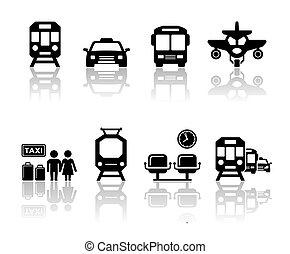 reflexão, transporte, ícones