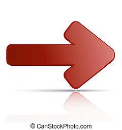 reflexão, vetorial, ares, fundo, branco vermelho