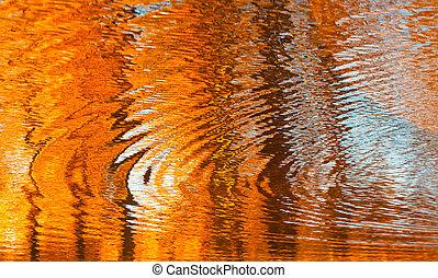 reflexões, água, abstratos, outono, fundo