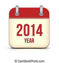 reflexión, app, vector, año, 2014, calendario, icono