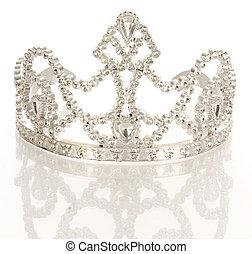 reflexión, corona, aislado, plano de fondo, blanco, tiara, o