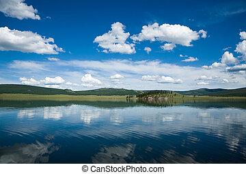 reflexión, en, un, lago