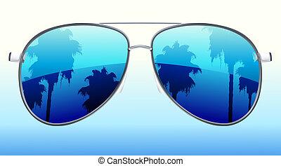 reflexión, gafas de sol
