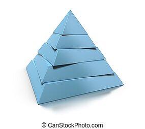 reflexión, pirámide, encima, niveles, cinco, brillante, ...