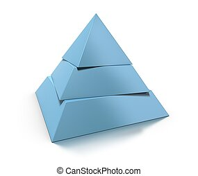 reflexión, pirámide, encima, tres, niveles, brillante, plano...