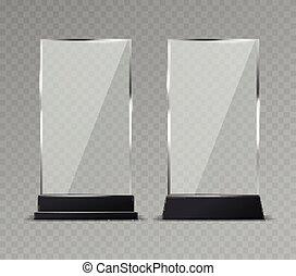 reflexion, buero, display., glänzend, klar, modern, plastik, glas, vektor, stehen, zeichen & schilder, platten, tisch, durchsichtig