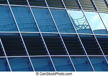 reflexion, in, windows, von, modern, bürogebäude, -, teil, moderne architektur