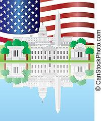 reflexion, milstolpar, washington washington dc, amerikansk flagga