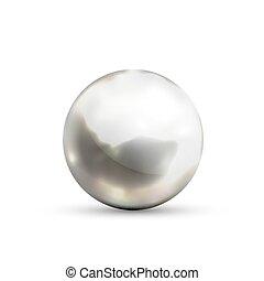 reflexion, vita krets, glatt, genomträngande blick, realistisk, metall, isolerat