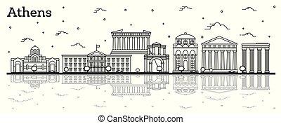 reflexiones, atenas, aislado, edificios, contorno, ciudad, grecia, white., histórico, contorno