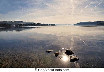 reflexiones, en, lago, windermere
