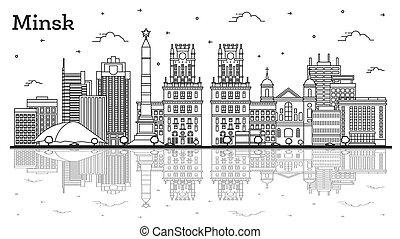 reflexiones, minsk, aislado, edificios, contorno, ciudad, belarus, white., contorno, moderno