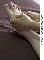 reflexology foot massage, spa foot treatment.