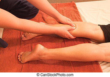reflexology leg massage,Thai traditional massage,Thailand.