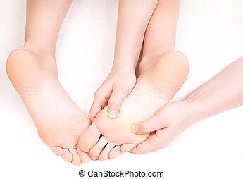 reflexology, masage, thérapeute, pied, urgent, zones