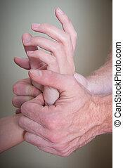 reflexology, poignet, patient, main femelle
