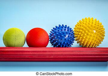 reflexology, soi, balles, thérapie, masage