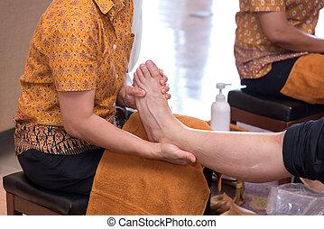 reflexology, tratamento, pé, spa, tailandês, massagem