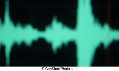 refocus, vagues, écran, lignes, audio, compensateur, musique, vague, fréquence, waveform., forme onde, bruit, haut., son, oscilloscope., ou, informatique, joueur, monitor., exposer, screen., numérique, fin, voix