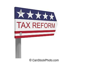 reform, drapeau usa, signe, isolé, fond blanc, illustration, impôt, direction, 3d