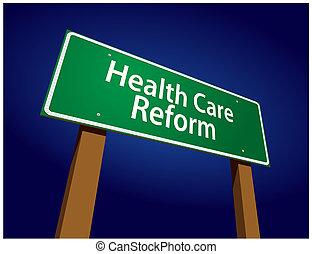reform, illustration, signe, vecteur, santé, vert, route, soin