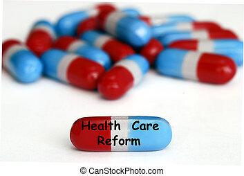 reform, isolado, saúde, branca, pílulas, cuidado