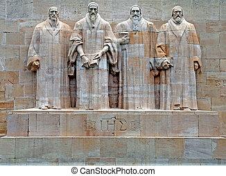 reforma, switzerland., monumento, ginebra