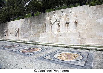 Reformation wall Geneva - The four reformists commemorated...