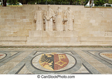 Reformation wall in Bastions park, Geneva, Switzerland -...