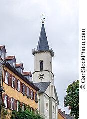 reformed, vue, friedrichsdorf, église française