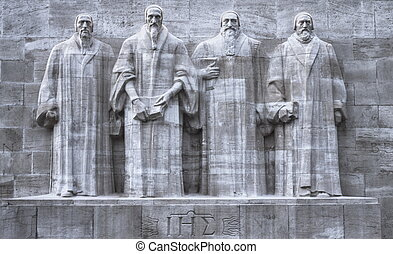 Reformers wall, Geneva, Switzerland, HDR - Close up on...