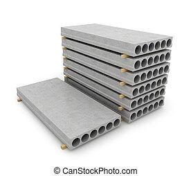 reforzado, concreto, artículos, blanco, fondo., 3d,...
