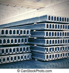 reforzado, losas, concreto, pila, precast, fábrica, taller
