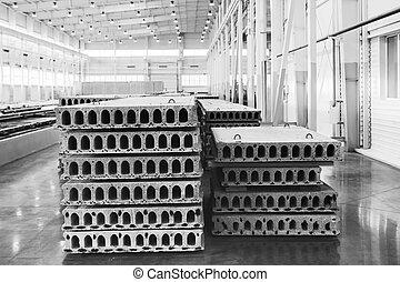 reforzado, pila, precast, fábrica, concreto, losas, taller