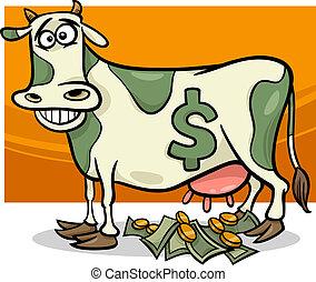 refrán, caricatura, efectivo, ilustración, vaca