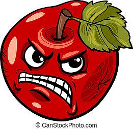 refrán, manzana mala, ilustración, caricatura