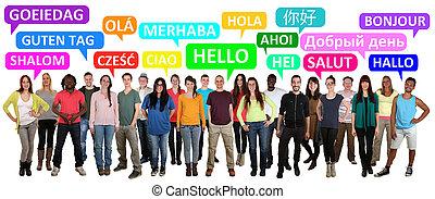 refrán, multi, grupo, gente, joven, étnico, sonriente, hola