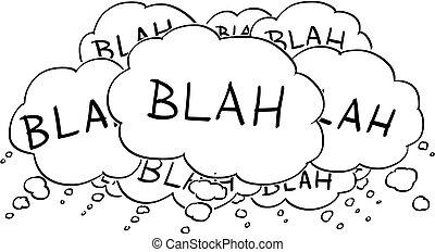 refrán, o, texto, dibujo, blah, discurso, burbujas, globos, caricatura