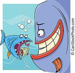 refrán, pez, más grande, caricatura, ilustración