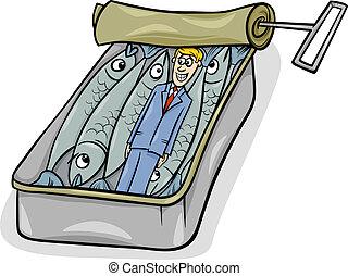 refrán, sardinas, caricatura, empacado, como