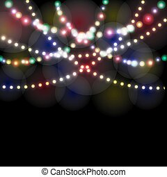 Refraction festive lights in the background of the night illustration