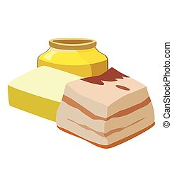 Refractory fats: margarine, animal fat, lard. For your convenience, each significant element is in a separate layer. Eps 10