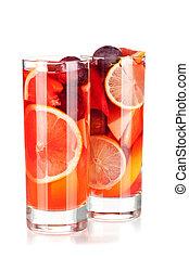 refrescante, cóctel,  sangría,  (punch), fruta,  collection: