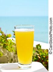 refrescante, español, clara, cerveza, mezclado, con,...