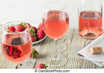 refrescante, rosa, rosé, vino