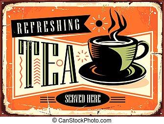 refrescante, té, aquí, señal, publicidad, vendimia, servido,...