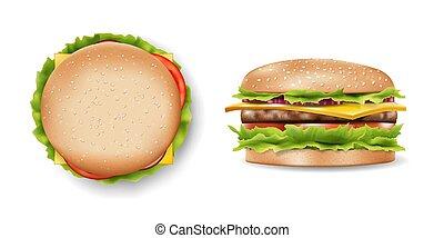 refrescante, vector, hamburguesa, diseño, realista, vista., delicioso, hamburguesa, lado, cima, su, mockup, ilustración, ingredients., 3d