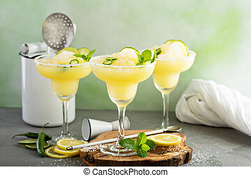 refrescante, verano, margarita, cóctel