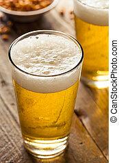 refrescante, verano, pinta de cerveza